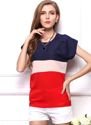 Color Block Casual Polyester Round Neckline Cap Sleeve Blouses