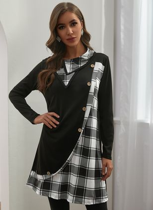 Casual Plaid Tunic Draped Neckline Shift Dress (146650983)