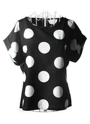 Polka Dot Casual Polyester Round Neckline Cap Sleeve Blouses