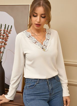V-Neckline Solid Casual Loose Regular Lace Buttons Sweaters (107423183)