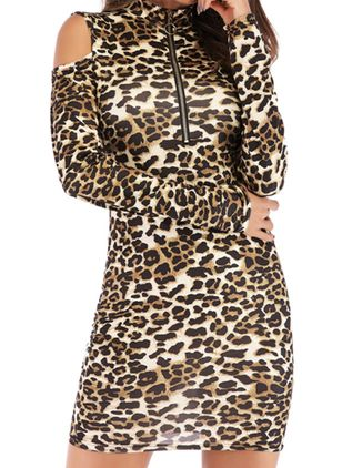 Casual Leopard Pencil High Neckline Bodycon Dress (146718532)