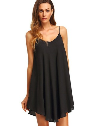 Solid Hollow Out Slip Above Knee Shift Dress