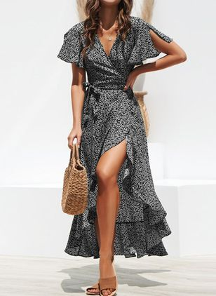 Polka Dot Sashes Wrap V-Neckline X-line Dress