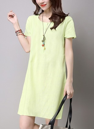 Solid Short Sleeve Knee-Length Dress