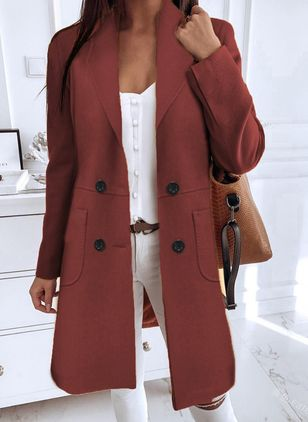 Long Sleeve Buttons Coats (120648939)