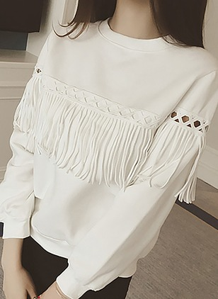 Solid Casual Cotton Round Neckline Hollow Out Tassel Sweatshirts