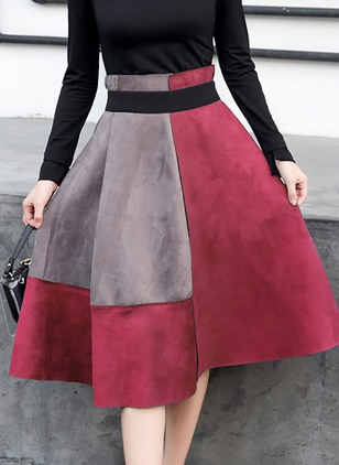 Cotton Color Block Knee-Length Casual Skirts