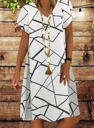 Casual Geometric Tunic V-Neckline A-line Dress (5609192)