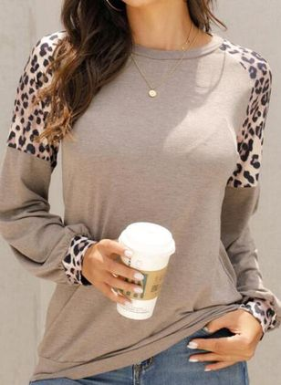 Leopard Round Neck Long Sleeve Casual T-shirts (107804702)