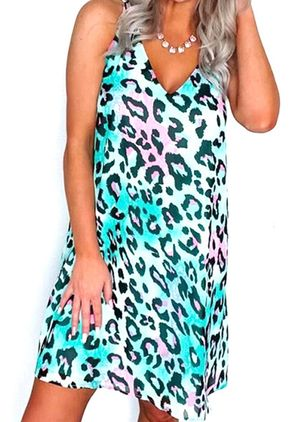 Casual Leopard Tunic V-Neckline Shift Dress (4228800)