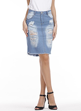 Denim Solid Knee-Length Casual Hollow Out Pockets Buttons Skirts
