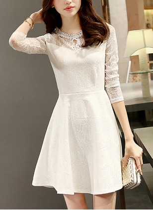 Solid Lace Skater Long Sleeve A-line Dress