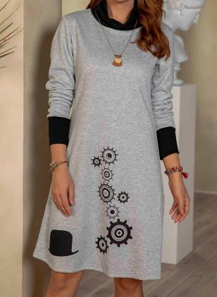 Casual Geometric Tunic Round Neckline A-line Dress (112237805)