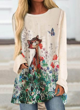 Animal Casual Round Neckline Long Sleeve Blouses (100037928)