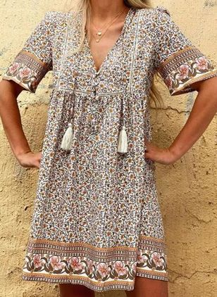 Casual Floral Tunic V-Neckline Shift Dress (4047466)