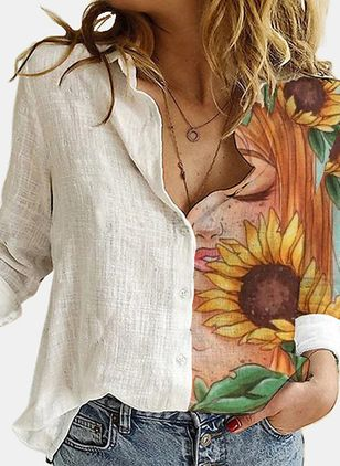 Floral Casual V-Neckline Long Sleeve Blouses (146957980)