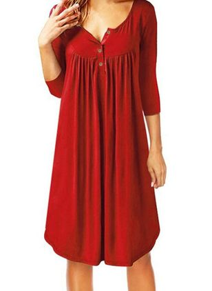 Plus Size Casual Solid Tunic V-Neckline Others Dress (1437634)