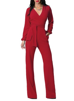Polyester Solid Long Sleeve Casual Jumpsuits & Rompers