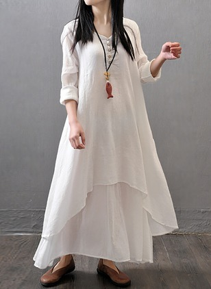 Solid Buttons Long Sleeve Maxi Shift Dress