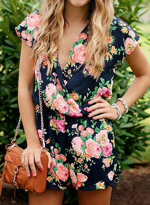 Cotton Floral Short Sleeve Jumpsuits & Rompers