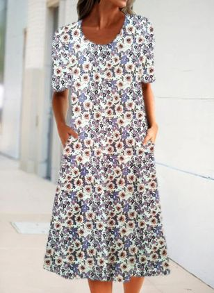 Casual Floral Shirt Round Neckline A-line Dress (4369260)