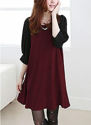 Polyester Color Block 3/4 Sleeves Above Knee Dresses