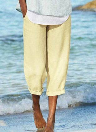 Casual Straight Pockets Mid Waist Polyester Pants (147494344)