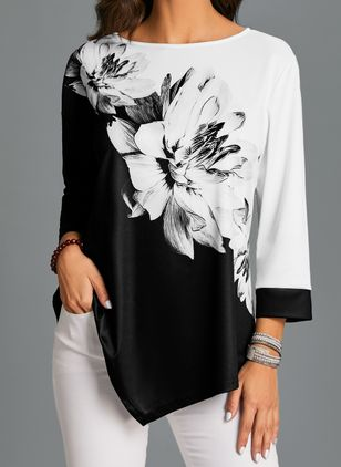 Floral Casual Round Neckline 3/4 Sleeves Blouses (1536010)