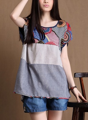 Cotton Geometric Round Neck Short Sleeve Casual T-shirts