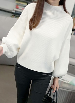 Wool High Neckline Solid Bat Shirt Sweaters