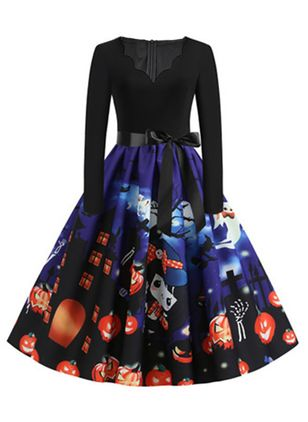 Halloween Color Block V-Neckline Midi X-line Dress (109973587)
