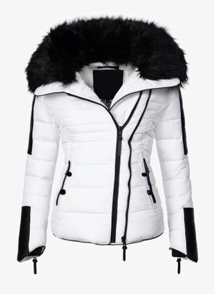 Long Sleeve Hooded Zipper Pockets Removable Fur Collar Parkas Coats (146700624)
