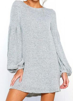 Casual Solid Tunic Round Neckline Shift Dress (146745164)