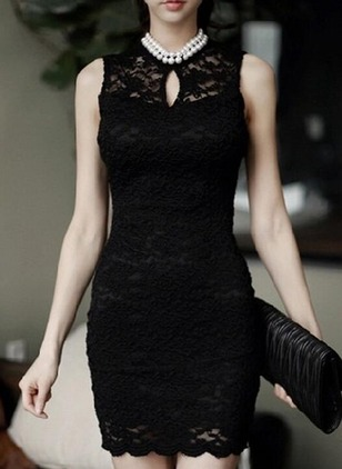 Solid Lace Pencil Mini Sheath Dress