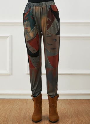 Casual Skinny Pattern Mid Waist Polyester Pants (146783400)