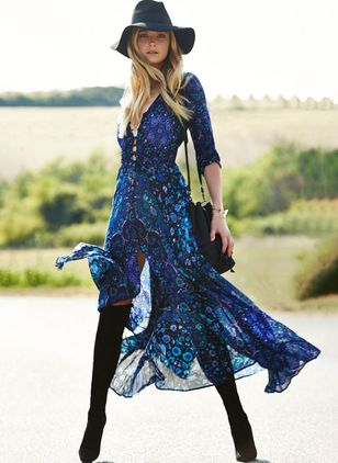 Floral V-Neckline 3/4 Sleeves Maxi X-line Dress