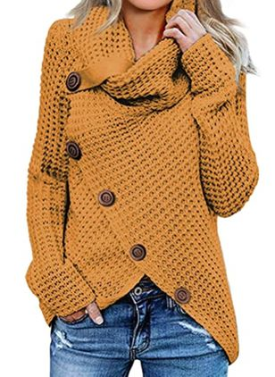 V-Neckline Solid Casual Regular Shift Sweaters (116140260)