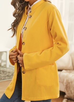 Long Sleeve Stand Collar Buttons Pockets Coats (146783428)