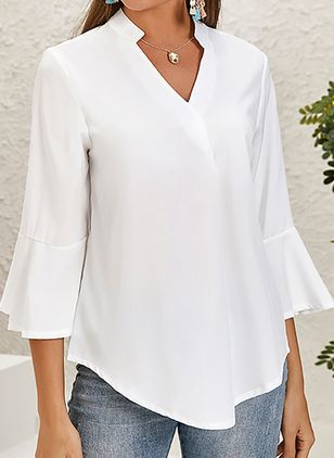 Solid Casual V-Neckline 3/4 Sleeves Blouses (122028931)