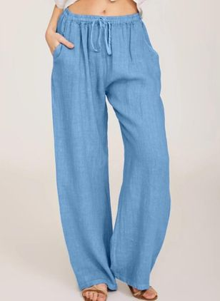 Casual Loose Pockets High Waist Cotton Blends Pants (4089087)