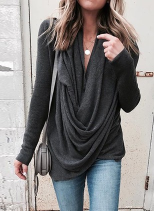 Solid Draped Neckline Long Sleeve Casual T-shirts