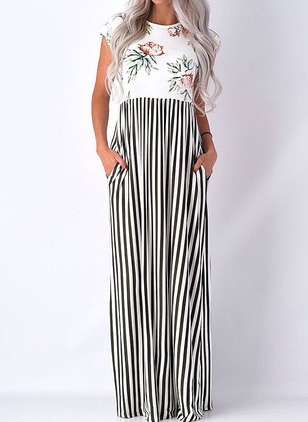 Polyester Stripe Cap Sleeve Maxi Dresses