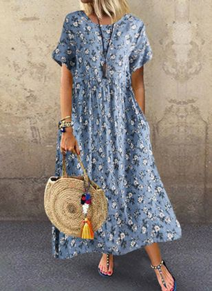 Casual Floral Tunic Round Neckline Shift Dress (4339307)