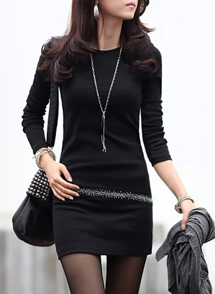 Solid Pencil Long Sleeve Dress