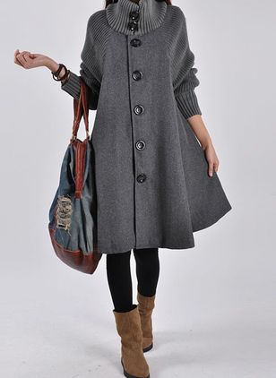 Long Sleeve High Neckline Buttons Sweaters Coats