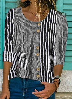 Stripe Casual Round Neckline 3/4 Sleeves Blouses (4458407)