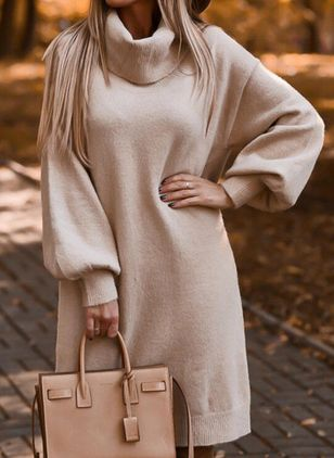 Casual Solid Sweater Draped Neckline Shift Dress (146745173)