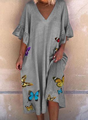 Casual Animal Tunic V-Neckline Shift Dress (4088618)