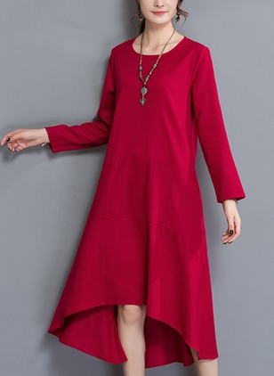 Solid Buttons Long Sleeve High Low Shift Dress