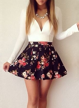 Floral Skater Long Sleeve Mini A-line Dress
